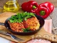 Рецепта Панирани червени чушки бюрек с яйца и сирене на тиган - класическа рецепта